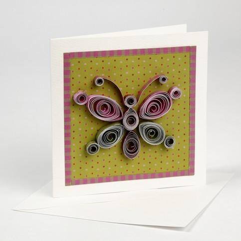 Quilling on a greeting card for Quilling strips designs