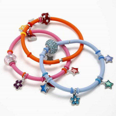 Charms On A Silicone Bracelet