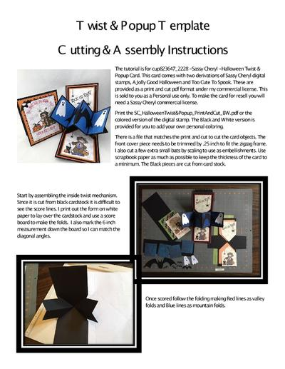 Twist & Popup Template Cutting and Assembly Instructions